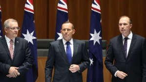 Australian Ministers: Scott  Morrison, Tony Abbott and Peter Dutton.