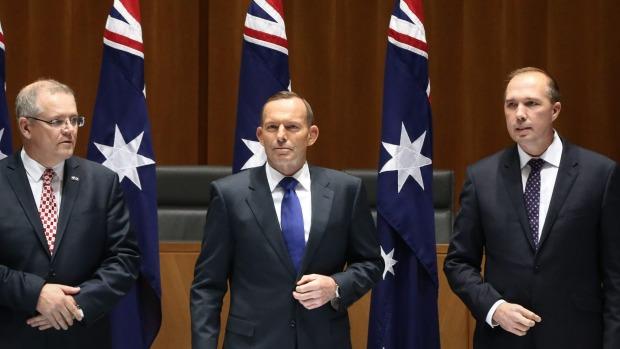 Australian Ministers: Scott  Morrison, Tony Abbott and Peter Dutton.
